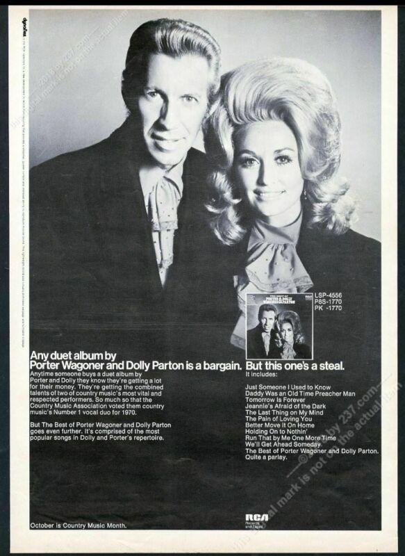 1971 Porter Wagoner Dolly Parton photo RCA Records big vintage trade print ad