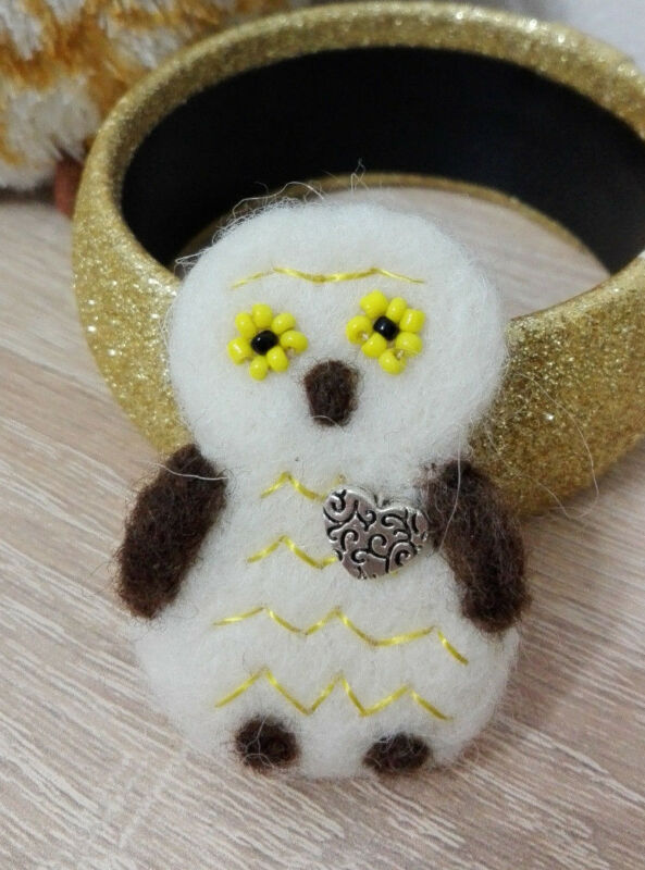 OWL brooch merino wool handmade item, needle felting wonderfull present OOAK