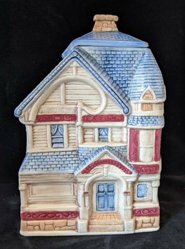Victorian House Cookie Jar Ceramic w/ BOX Treasure Craft USA Vintage NEW