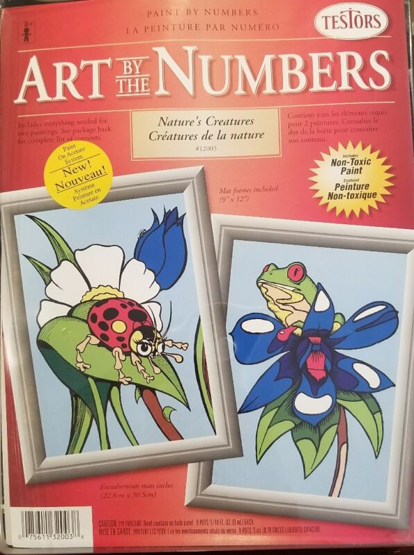 """Testors Art by the Numbers NATURES CREATURES #12003 9""""x12"""" PAINTING KIT"""