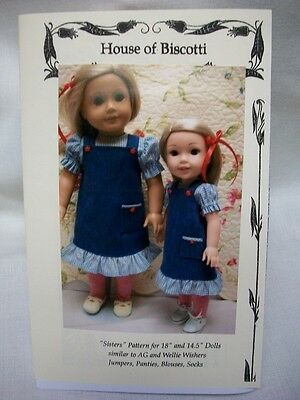 """""""Sisters""""  Pattern for 18"""" and 14.5"""" Wellie Wishers, Jumpers, Blouse, Socks"""