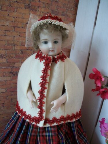 "12"" French Fashion Red Trimmed Wool Cape, Hat,   Huret, Bru No Doll"