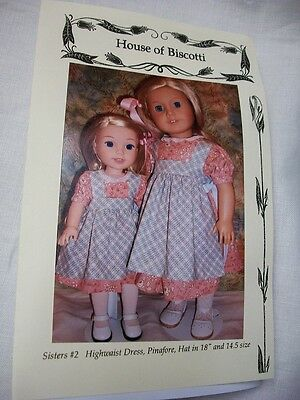 "Sisters #2 PATTERN for 18"" and 14.5""  Wellie Wishers, Sailor Dresses, Pinafores"