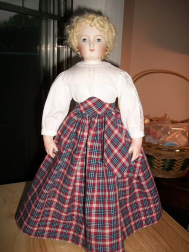 """16"""" French Fashion Plaid Skirt, Lace Insertion Batiste Blouse Huret,  No Doll"""