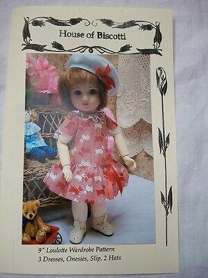 "9"" Loulotte Wardrobe PATTERN, Dresses, Hats, Undies,   Bleuette Friend"