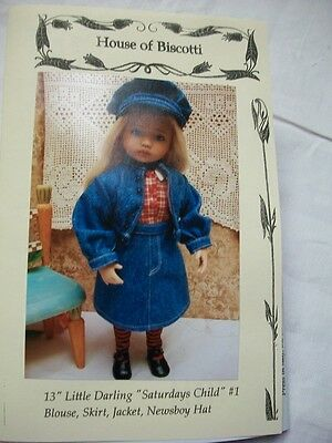 "Effner 13"" Little Darling PATTERN ""Saturdays Child"" Jacket, Skirt, Blouse, Hat"