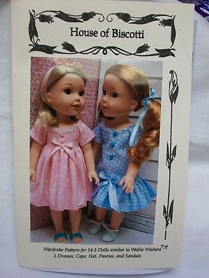 "14.5"" Doll Wardrobe PATTERN, Wellie Wishers, Cape, 3 Dresses, Sandals"