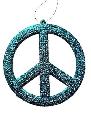 Peace Sign Ornament Turquoise Glitter 4 inch Large 3 In 1 Pk Christmas or Party  - Peace Sign Ornaments