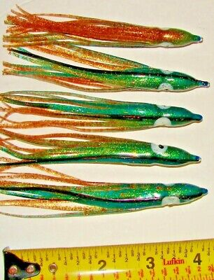 10 Skirt 4 3//4 Trolling FISHING LURE Tuna Mahi Hoochie Squid Mahi Purple Rainbow