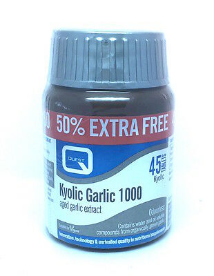 Garlic 1000 Tab (Quest Kyolic Garlic 1000mg (heart & Circulation) 45 Tablets 30 plus 15 tabs)
