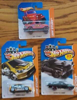 Hot Wheels Lot of 3 HW Stunt 2012  New in Pack El Camino Scrambler Citroen Rally