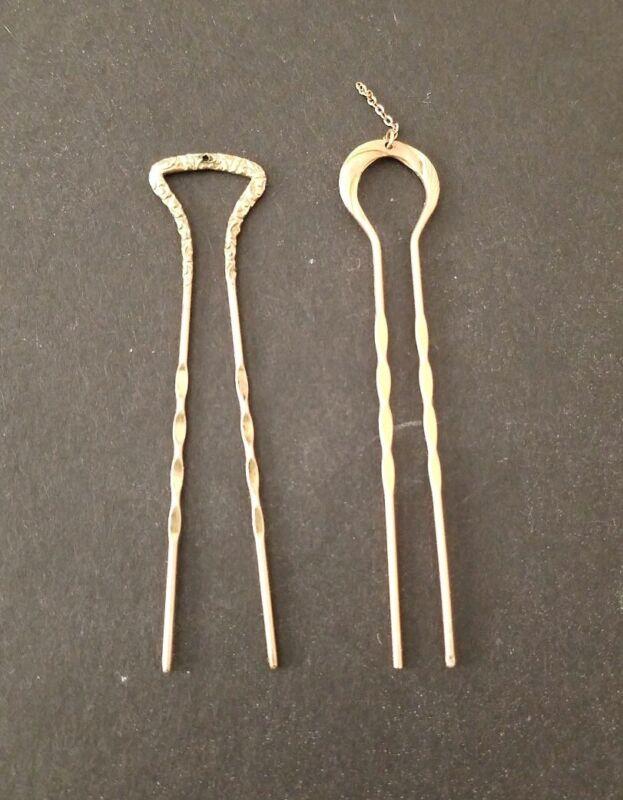 Antique Victorian Detailed Brass Hair Pins
