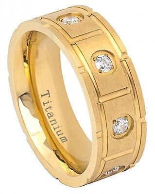 8mm Titanium Ring Men Women Wedding Band Yellow IP Pipe cut Brushed with 8 CZs Cut Brushed Wedding Ring