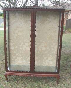 Large antique vintage piecrust Tall China display cabinet 3 shelv Kingswood Penrith Area Preview