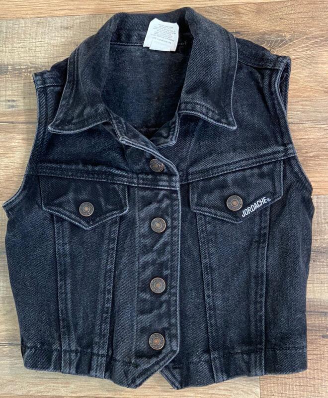 Vintage Jordache Black Denim Jean Vest Toddler Size 4 Biker 1980's Unisex