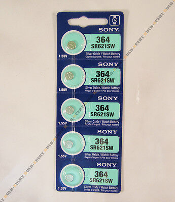 BRAND NEW 5 PCS SONY SR621SW 364 BUTTON COIN CELL WATCH BATTERIES VALUE PACK