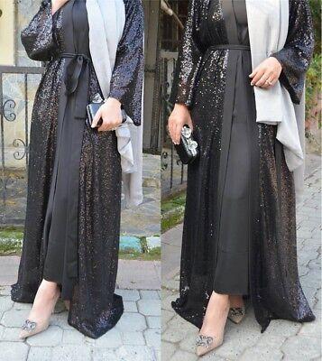 Women Abaya Dubai Muslim Maxi Open Front Cardigan Embroidery Islamic Long Dress