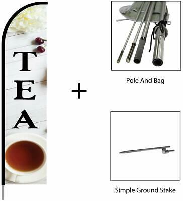 Tea Sign Feather Flag Swooper Banner Pole Kit Outdoor Advertising Display 15ft