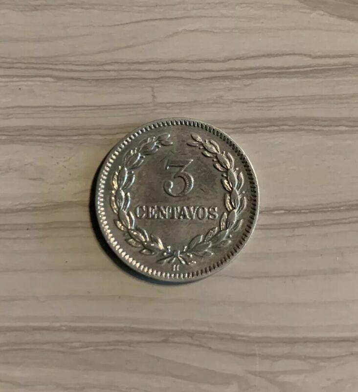 1913 H El SALVADOR 3 Centavos KM# 107 Copper-Nickel Coin Mintage 1,000,000