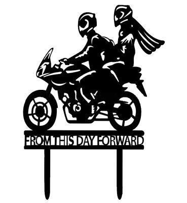 MOTORBIKE WEDDING CAKE TOPPER-BLACK MOTORCYCLE-16X12CM-BIKE-BIKER ENGAGEMENT