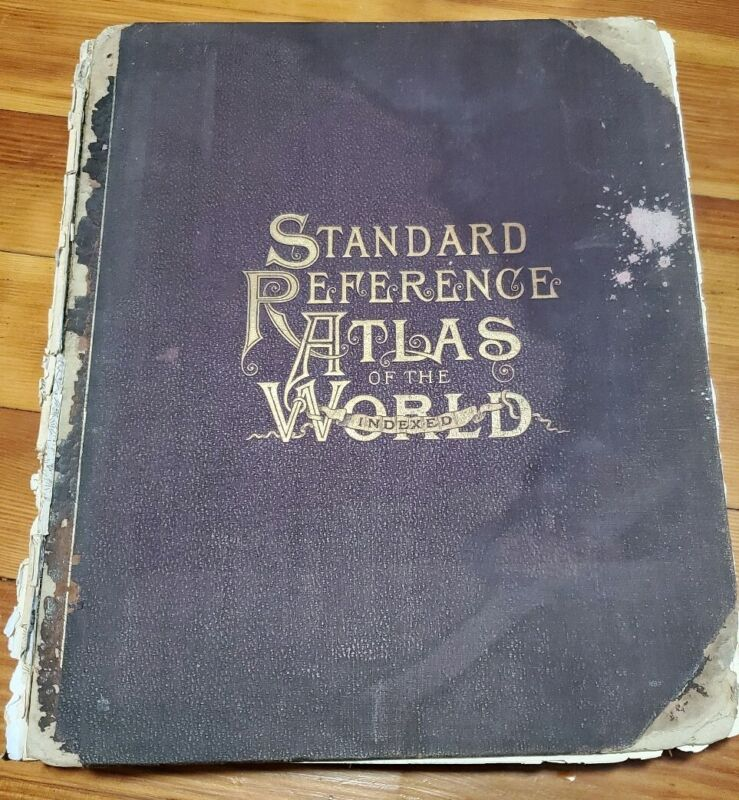 1889 Standard Reference Atlas Of The World Indexed Antique Map Book