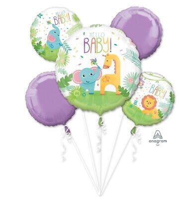 Cute Safari Hello Baby! Balloon Baby Shower 5CT Foil Balloon Bouquet](Safari Baby Shower Balloons)