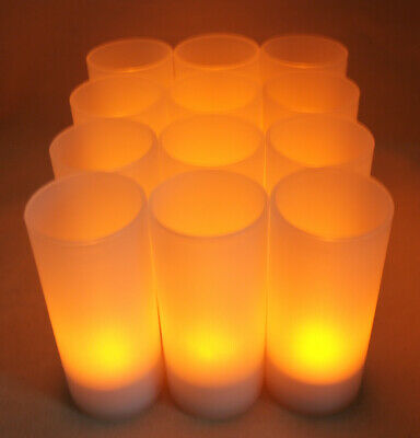 Set of 12 Rechargeable Tea Light LED Candles with Frosted Votive Holders Wedding
