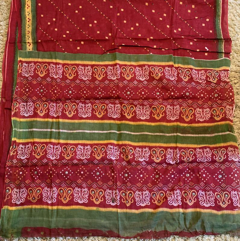 """Saree Sari 192"""" X 44"""" India Red Green Yellow White Plus Blouse Top"""