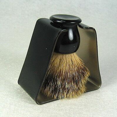 Vintage Black Acrylic Handle Shaving Brush & Stand Mod MCM
