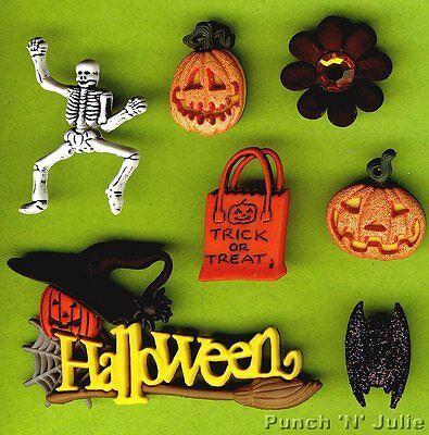 TRICK OR TREAT? - Skeleton Bat Pumpkin Bag Halloween Dress It Up Craft Buttons