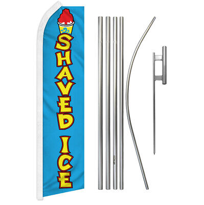 Shaved Ice Advertising Swooper Flutter Feather Flag Kit Snow Cone Hawaiian Ice