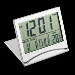 Silver Digital LCD Display Desk Alarm Clock Calendar Date Time Thermometer