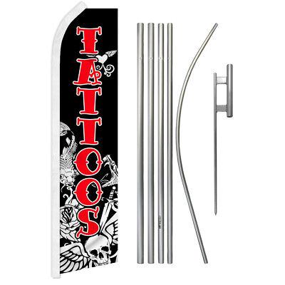 Tattoos Advertising Swooper Flutter Feather Flag Kit Tattoo Shop Parlor Piercing