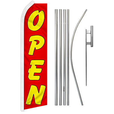 Open Swooper Advertising Feather Flutter Flag Pole Kit Redyellow Now Open Now