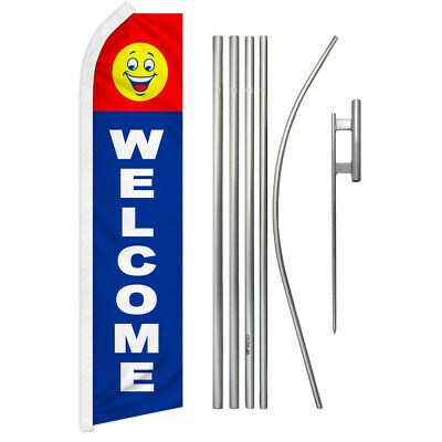 Welcome Swooper Advertising Feather Flutter Flag Pole Kit Were Open Come In