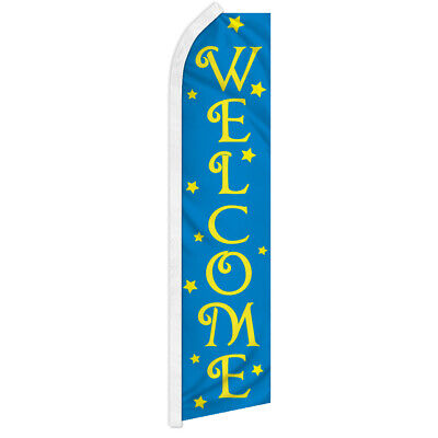 Welcome Advertising Flag Swooper Feather Super Flag Open Now