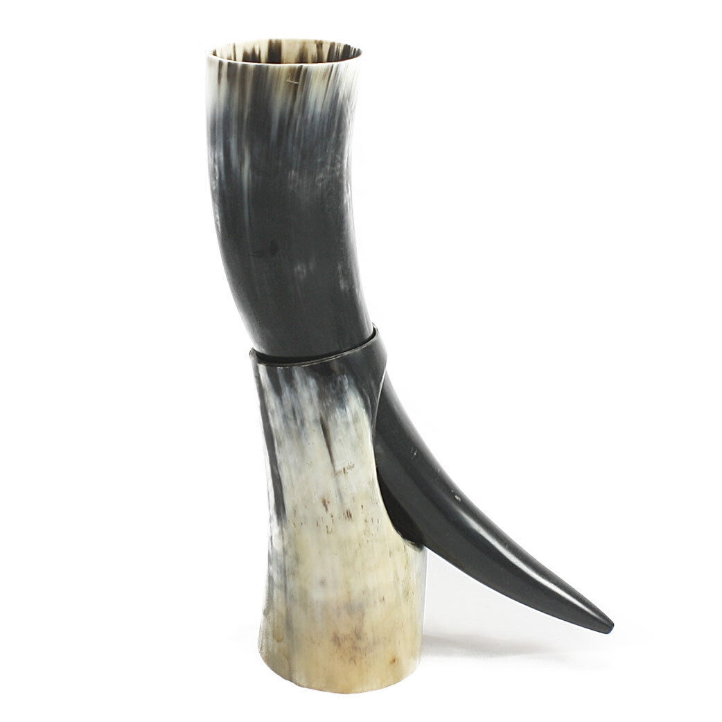 OX ceremonial Polished Viking drinking horn with stand for beer wine ale pagan