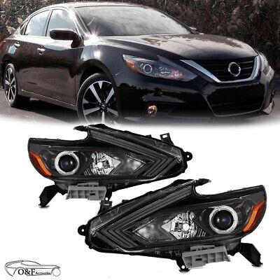 For 2016 2017 Nissan Altima Headlights Halogen W/O LED HeadLamps Black Pair Set