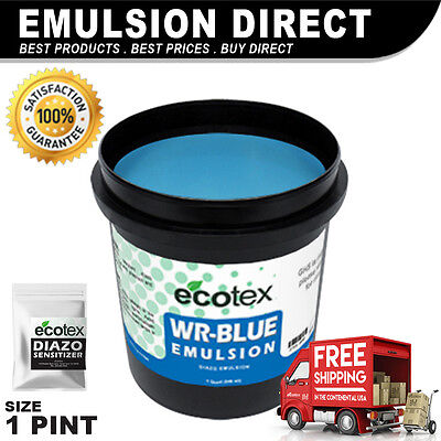 Ecotex Wr-blue - Water Resistant Textile Diazo Screen Printing Emulsion - 1 Pint