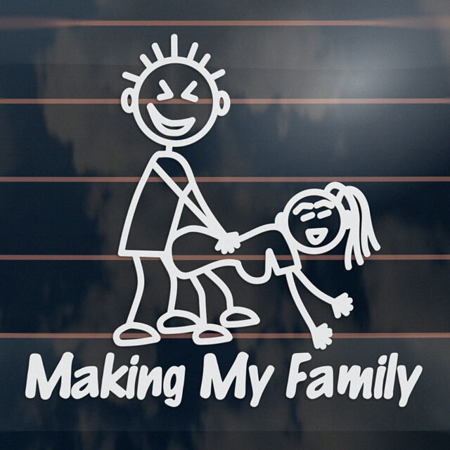 Making My Family funny rude stick figure Car Sticker 165mm
