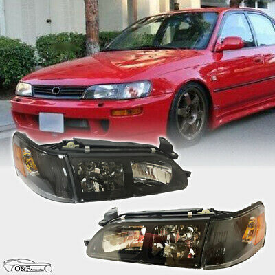For 1993 1997 Toyota Corolla DX Headlights Black Housing Clear Lens Pair Set