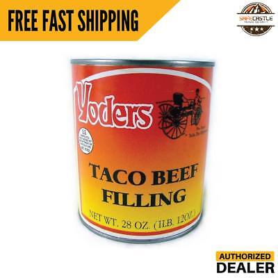 New Yoders Canned Taco Filling Single Can Seasoned Beef-long Shelf Life, 28oz (Canned Shelf Life)