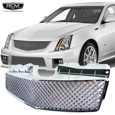 For 03 07 Cadillac CTS Chrome Front Bumper Frame Diamond Mesh Grill Grille