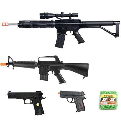 3 New Airsoft Guns (5 PIECE SPRING AIRSOFT GUNS SET SNIPER RIFLE + RIFLE + 2 PISTOLS 6mm BB)