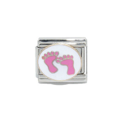 Pink baby feet Italian charm - fits 9mm classic Italian charm bracelets - Feet Italian Charm