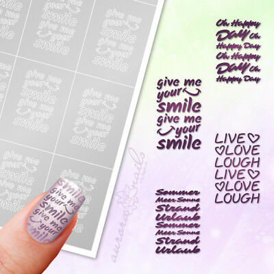 Schablonen Airbrush Nailart SET90 Text Schriftzug klebend SET