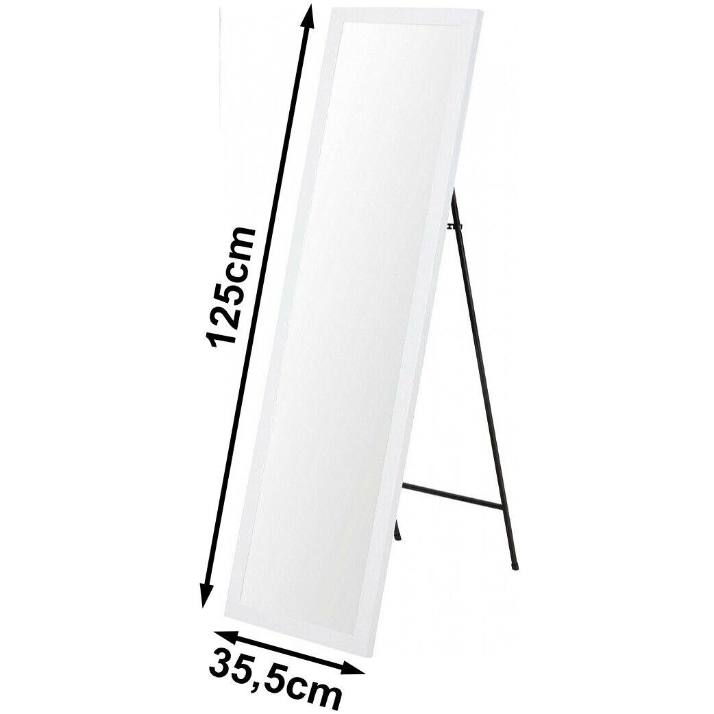 Standspiegel Stand Hoch Spiegel Haus  Ganzkörperspiegel weiß stehend 125 cm 8050