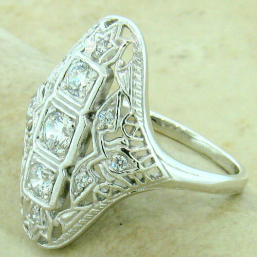 ART DECO 925 STERLING SILVER ANTIQUE STYLE CUBIC ZIRCONIA RING SIZE 8,     #1148