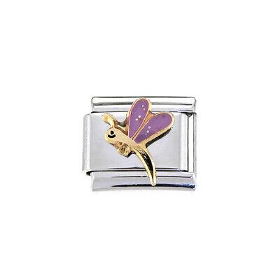 Purple dragonfly Italian charm - fits 9mm classic Italian charm bracelets Dragonfly Italian Charm Bracelet