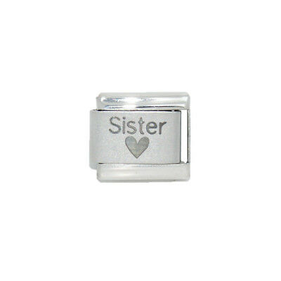 Sister with Heart Laser Italian Charm - fits 9mm classic bracelets  ()